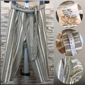 Belted Multi-color Linen Slacks